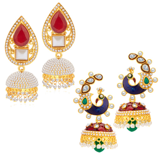 Sukkhi Glorious Peacock Jhumki Gold Plated Set Of 2 Pair Earring Combo For Women