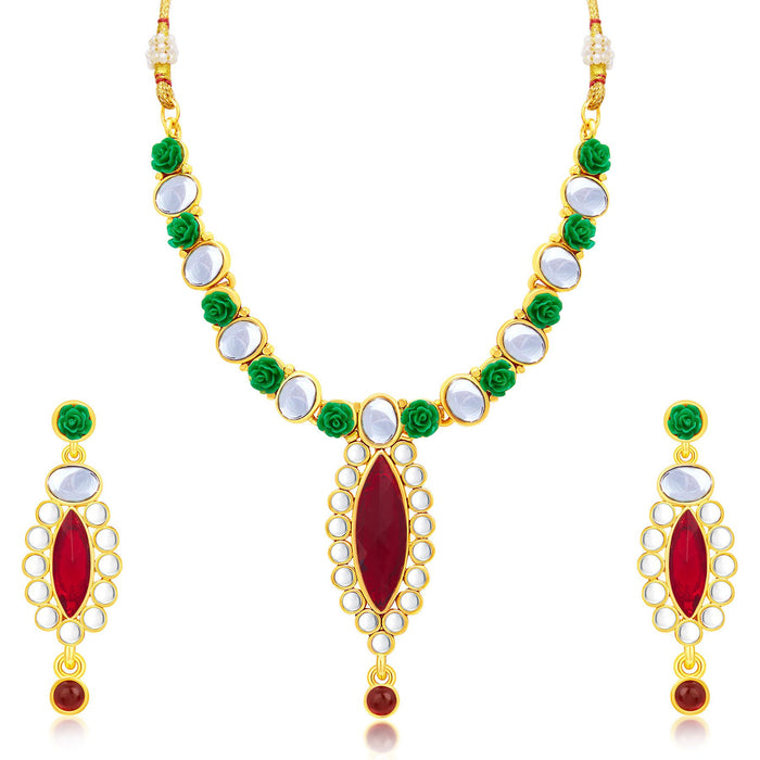 Sukkhi Exotic Flower Gold Plated Necklace Set For Women