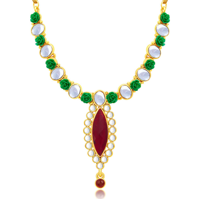 Sukkhi Exotic Flower Gold Plated Necklace Set For Women-1