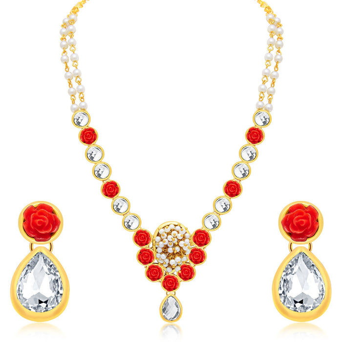 Sukkhi Classy Flower Gold Plated AD Necklace Set For Women