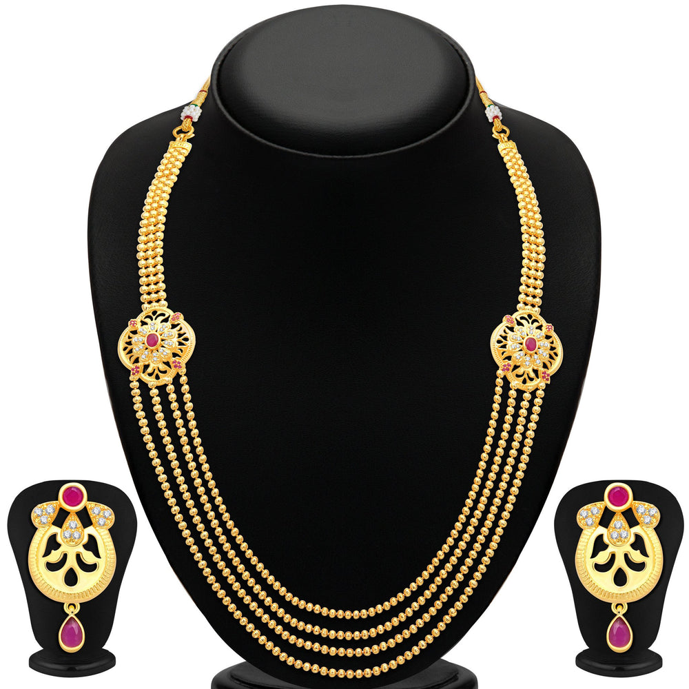 Pissara Fashionable 4 String Gold Plated CZ Necklace Set For Women