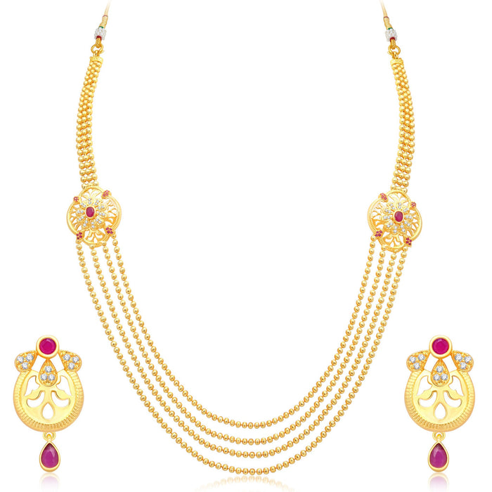 Pissara Fashionable 4 String Gold Plated CZ Necklace Set For Women-1