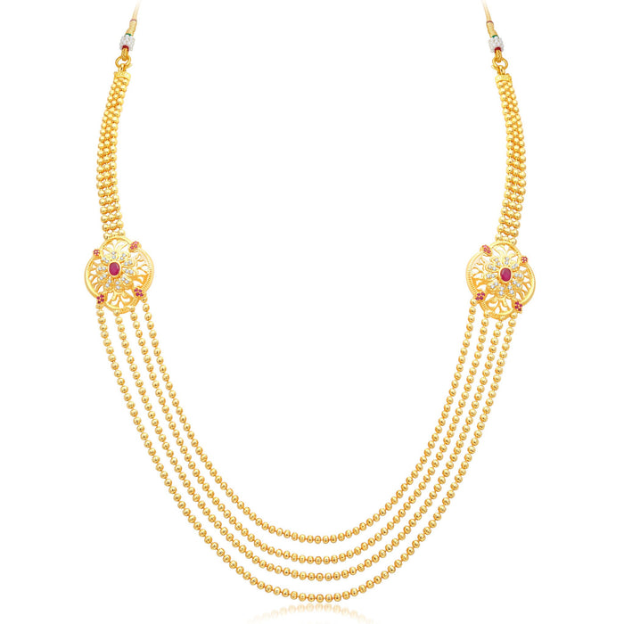 Pissara Fashionable 4 String Gold Plated CZ Necklace Set For Women-3