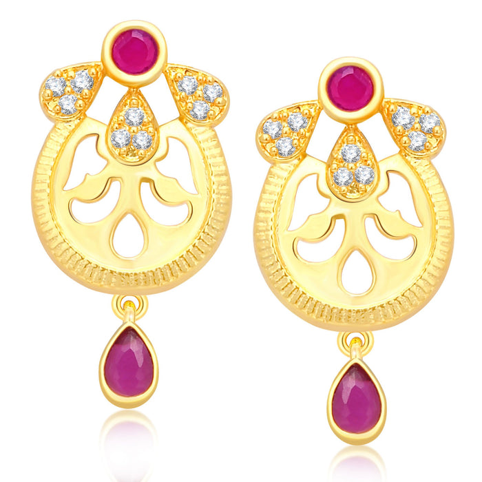 Pissara Fashionable 4 String Gold Plated CZ Necklace Set For Women-5