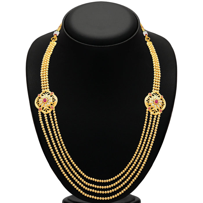 Pissara Fashionable 4 String Gold Plated CZ Necklace Set For Women-2