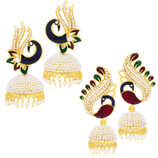 Sukkhi Shimmering Peacock Jhumki Gold Plated Set of 2 Pair Earring Combo For Women