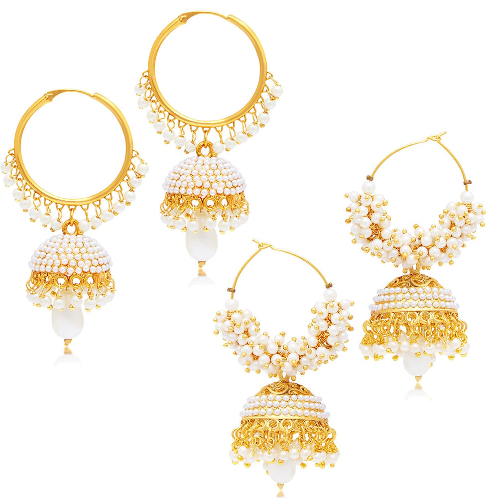 Sukkhi Divine Jhumki Gold Plated Set of 2 Pair Earring Combo For Women