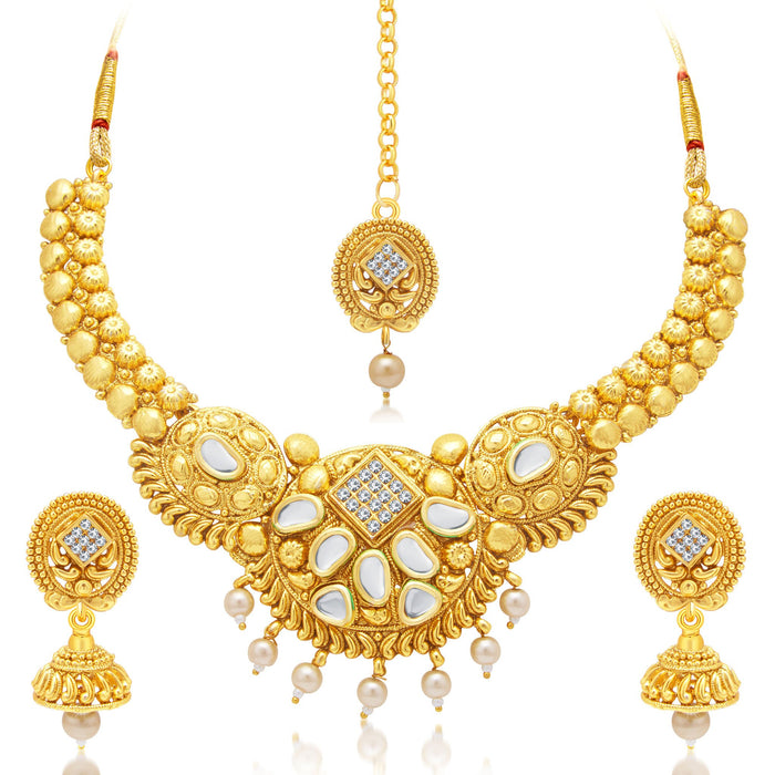 Sukkhi Ethnic Gold Plated AD Necklace Set For Women
