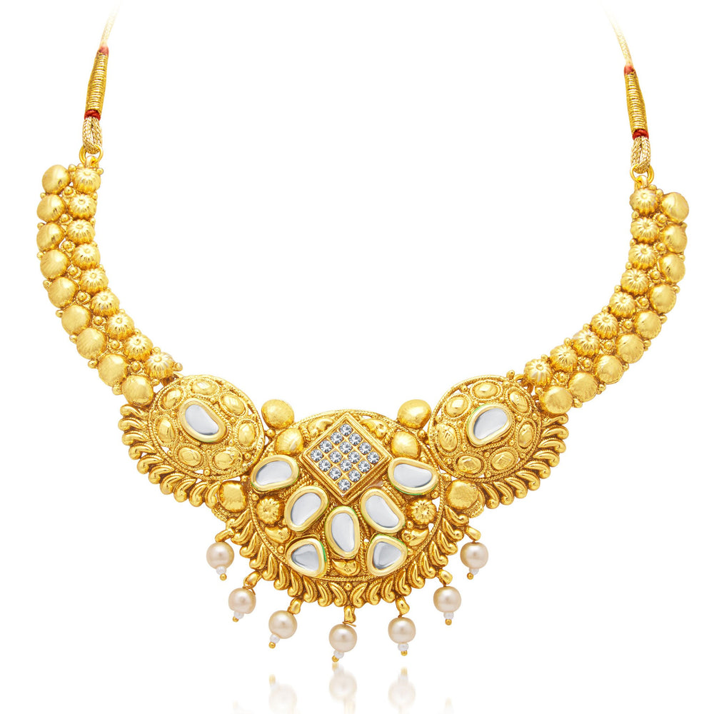 Sukkhi Ethnic Gold Plated AD Necklace Set For Women-1