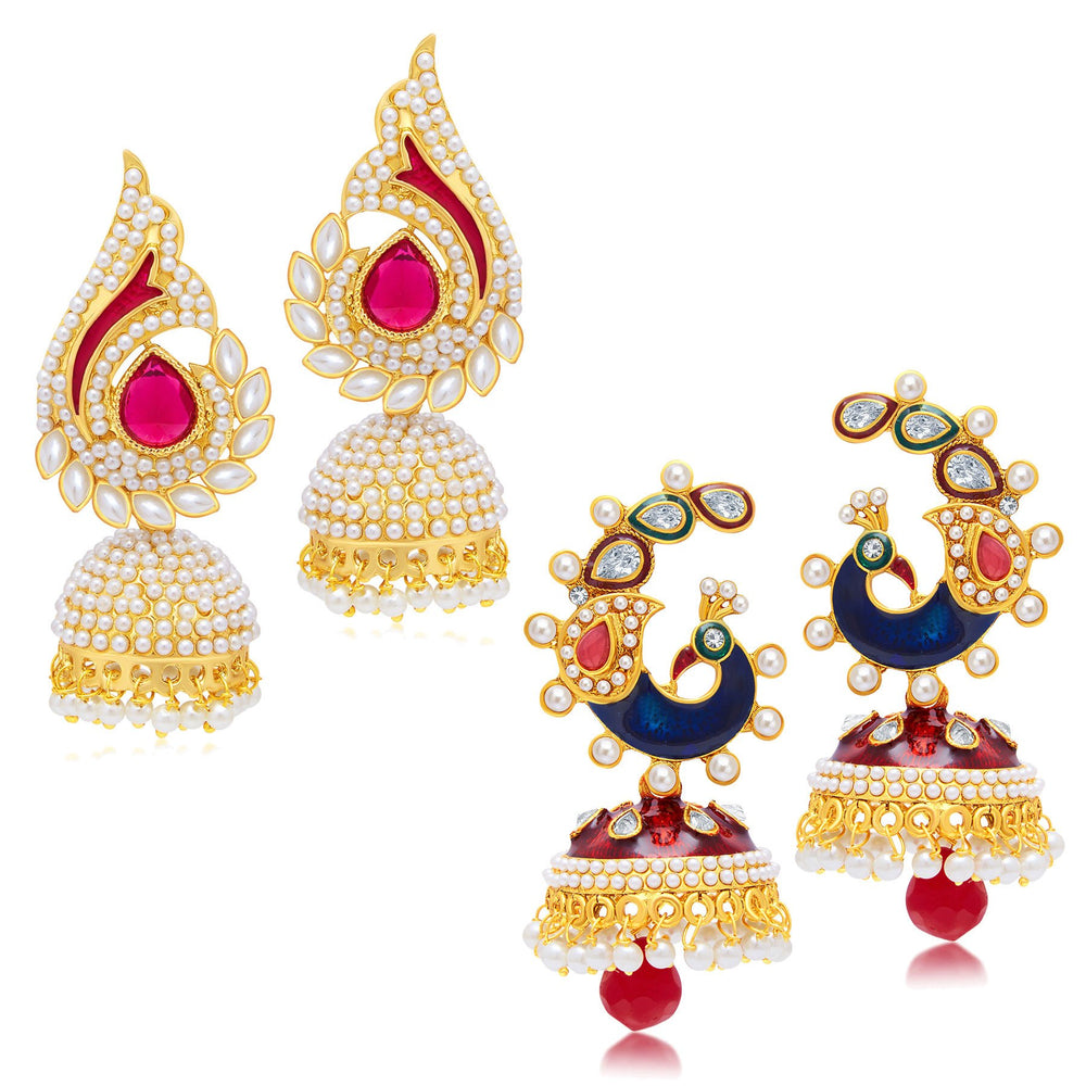 Sukkhi Designer Peacock Jhumki Gold Plated Set of 2 Pair Earring Combo For Women