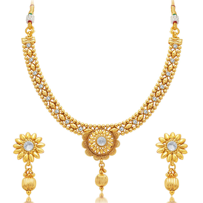 Sukkhi Delightful Jalebi Gold Plated AD Necklace Set For Women