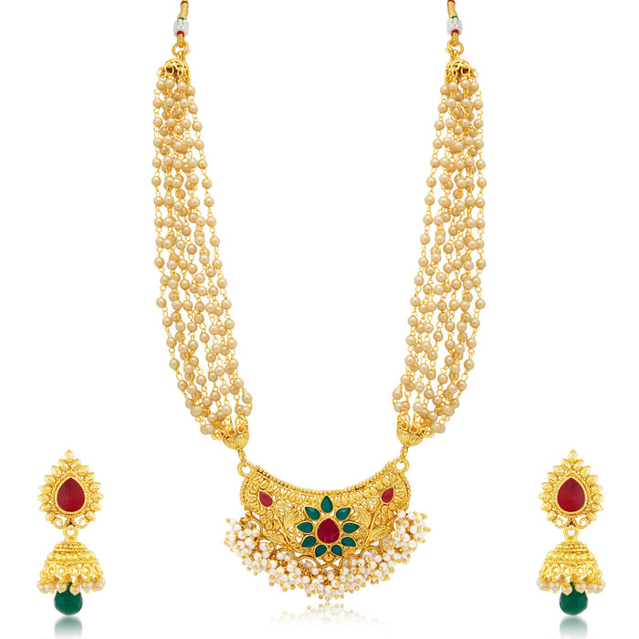 Sukkhi Dazzling Gold Plated Necklace Set For Women