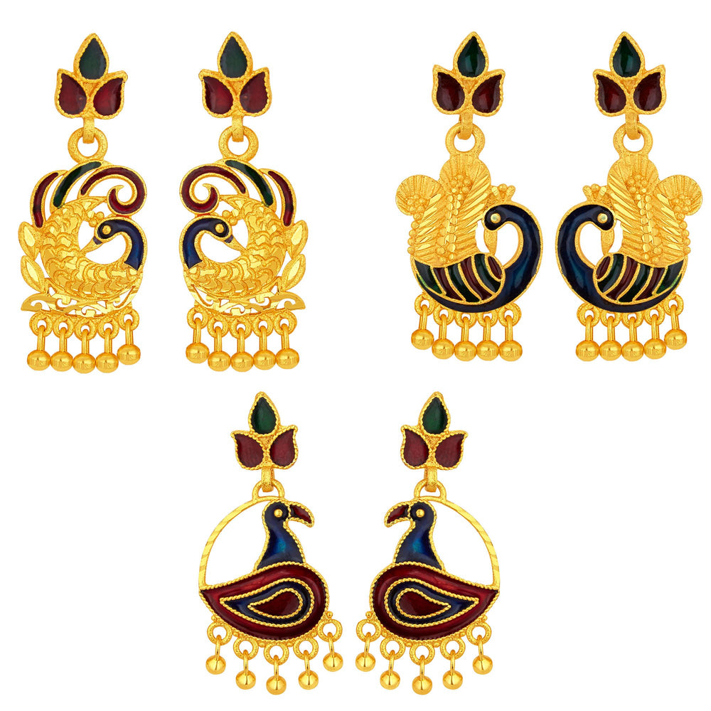 Sukkhi Cluster Peacock Gold Plated Set of 3 Pair Earring Combo For Women