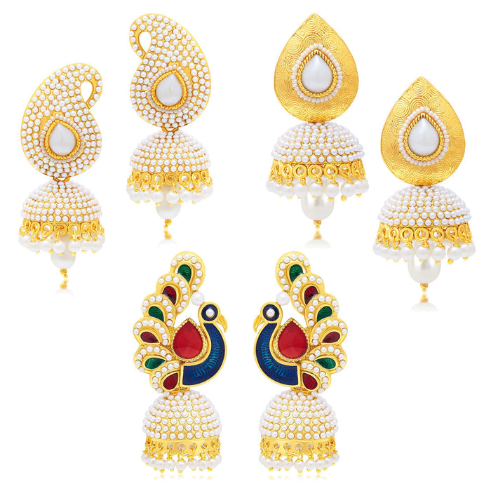 Sukkhi Gleaming Peacock Jhumki Gold Plated Set of 3 Pair Earring Combo For Women