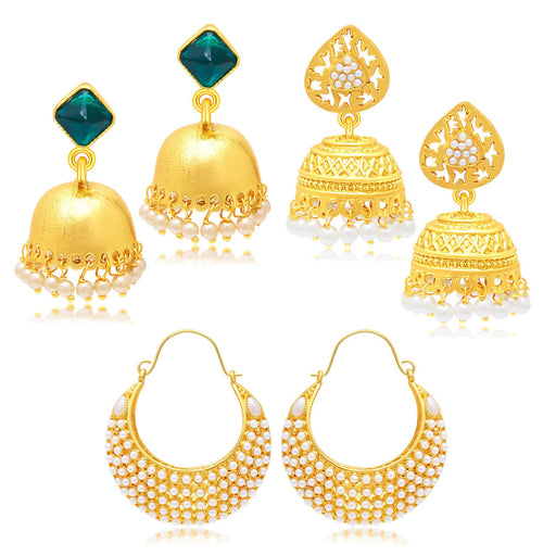 Sukkhi Bewitching Jhumki Gold Plated Set of 3 Pair Earring Combo For Women