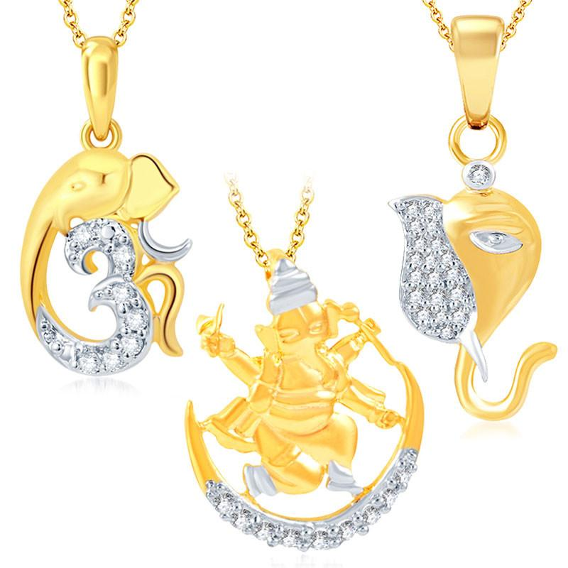Pissara Fine Ganesha Gold Plated Set of 3 God Pendant with Chain Combo