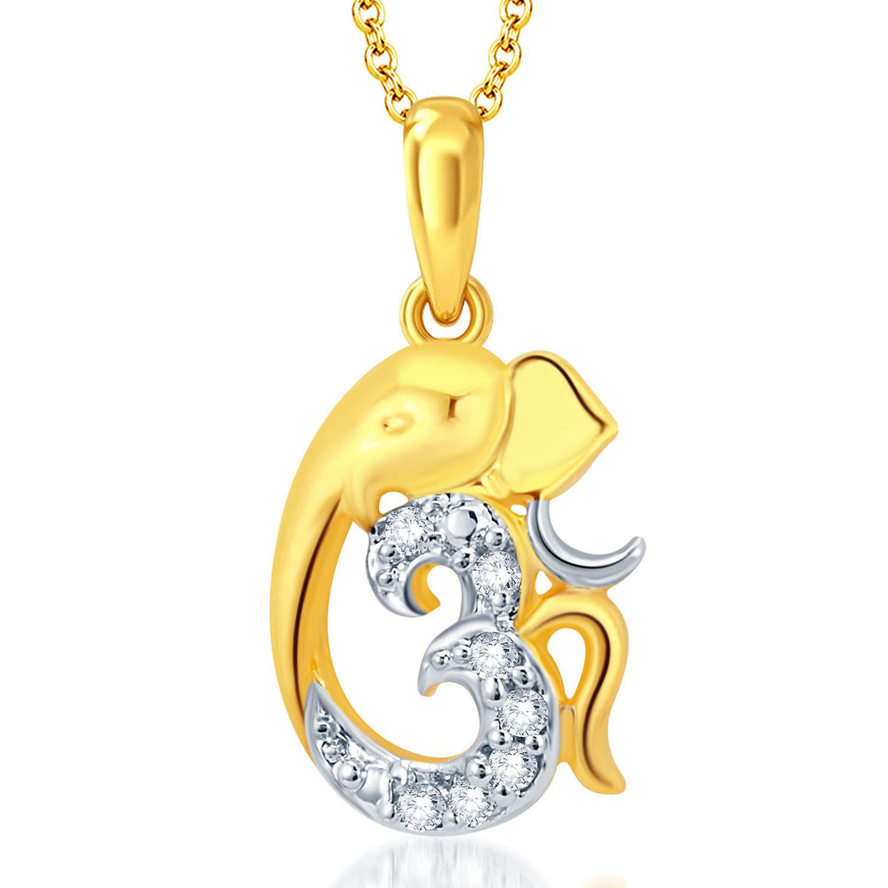 Pissara Fine Ganesha Gold Plated Set of 3 God Pendant with Chain Combo-3