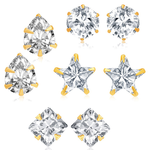 Pissara Fancy Gold Plated CZ Set of 4 Pair Earring Combo For Women