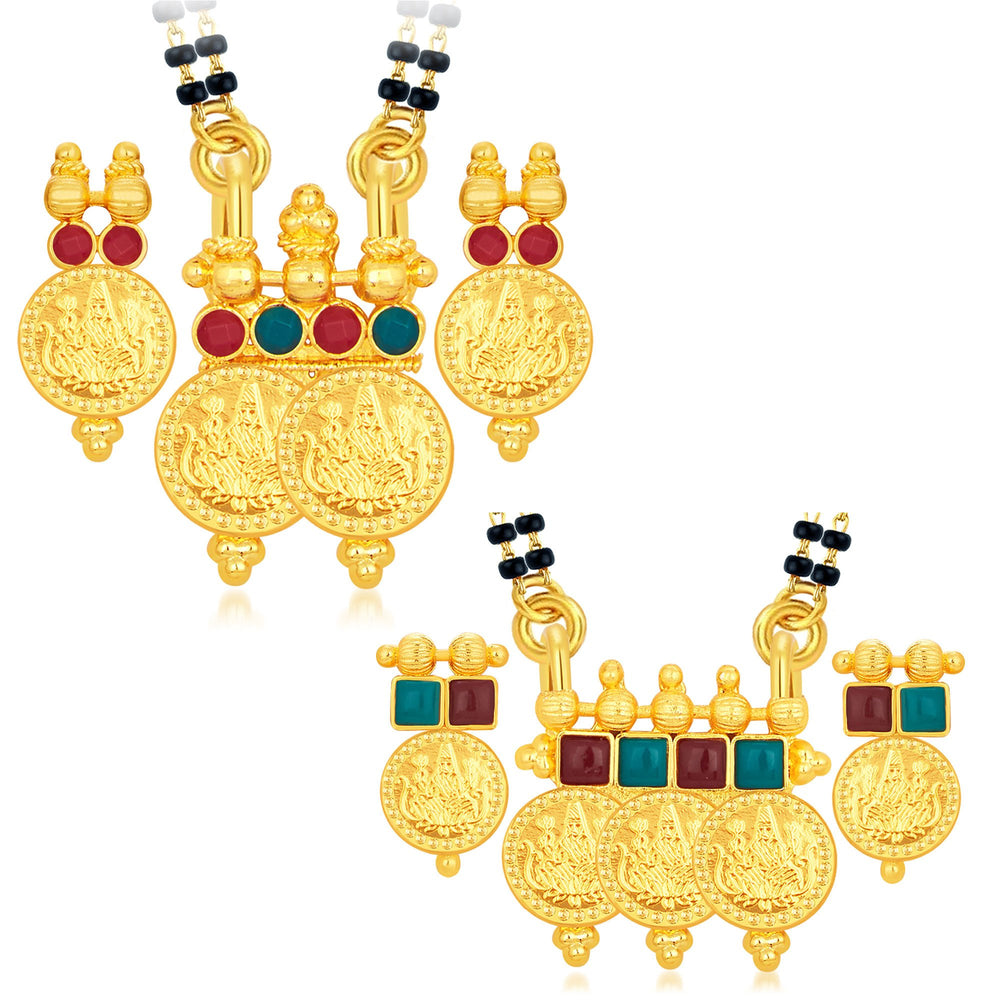 Sukkhi Creative Laxmi Temple Coin Gold Plated Set of 2 Mangalsutra Set Combo For Women