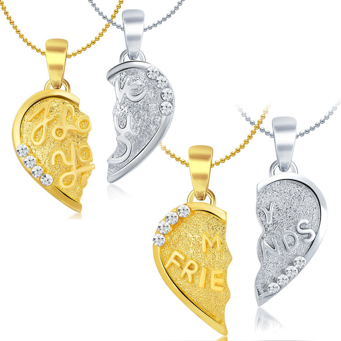 Sukkhi Elegant Gold and Rhodium Plated AD Set of 2 Pendant Combo For Women