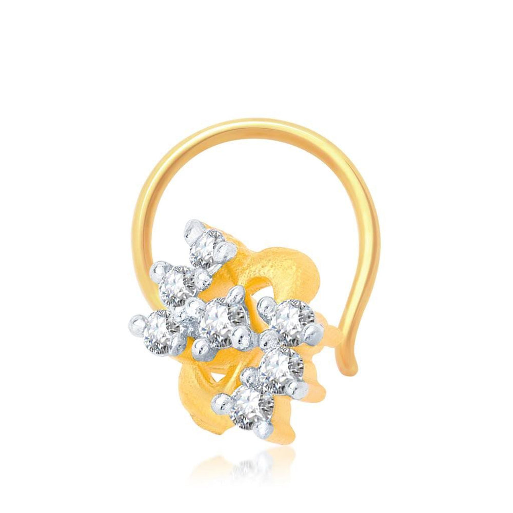 Pissara Incredible Gold and Rhodium Plated CZ Nose Pin