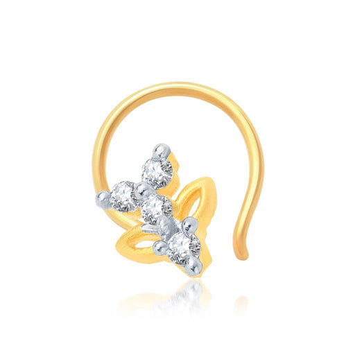 Pissara Estonish Gold and Rhodium Plated CZ Nose Pin