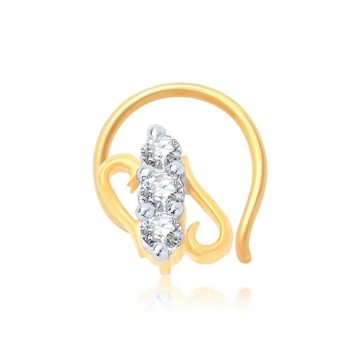 Pissara Fascinating Gold and Rhodium Plated CZ Nose Pin