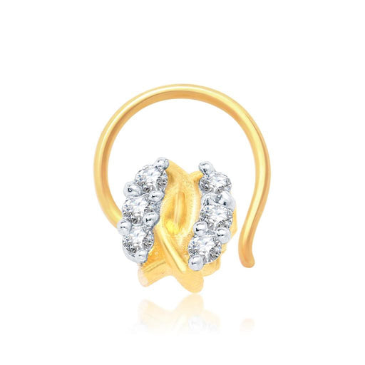 Pissara Modern Gold and Rhodium Plated CZ Nose Pin