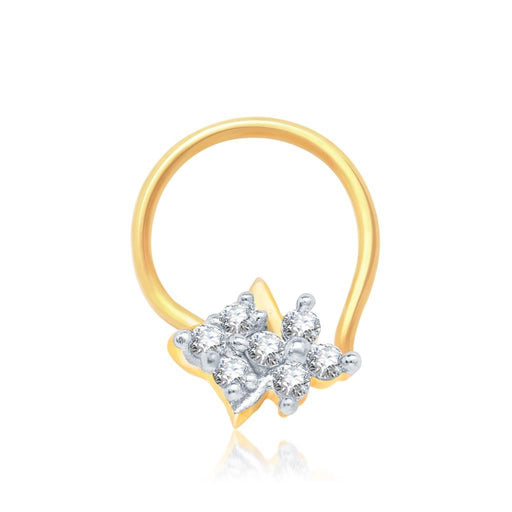 Pissara Gleaming Gold and Rhodium Plated CZ Nose Pin