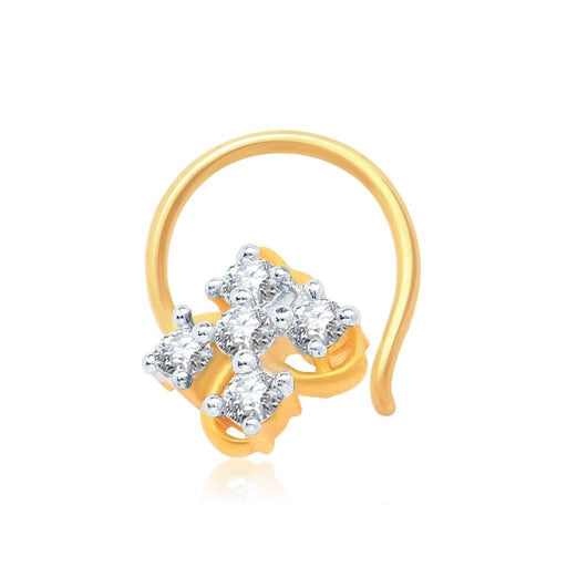 Pissara Eye-Catchy Gold and Rhodium Plated CZ Nose Pin