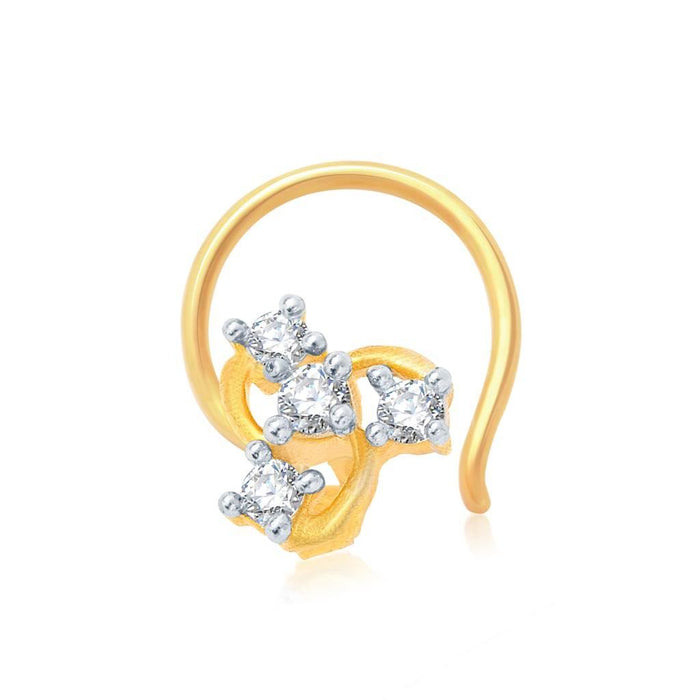 Pissara Glimmery Gold and Rhodium Plated CZ Nose Pin