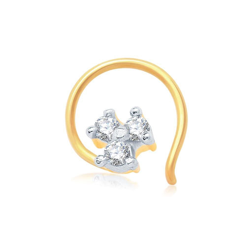 Pissara Briliant Gold and Rhodium Plated CZ Nose Pin