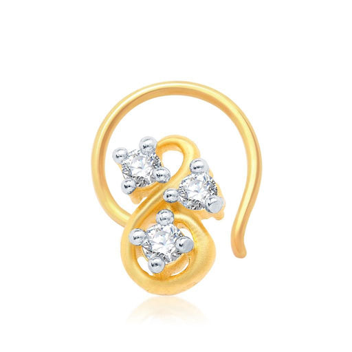 Pissara Youthful Gold and Rhodium Plated CZ Nose Pin