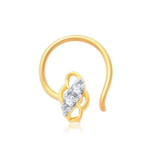 Pissara Indian Gold and Rhodium Plated CZ Nose Pin