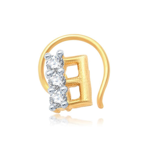 Pissara Stunning Gold and Rhodium Plated CZ Nose Pin