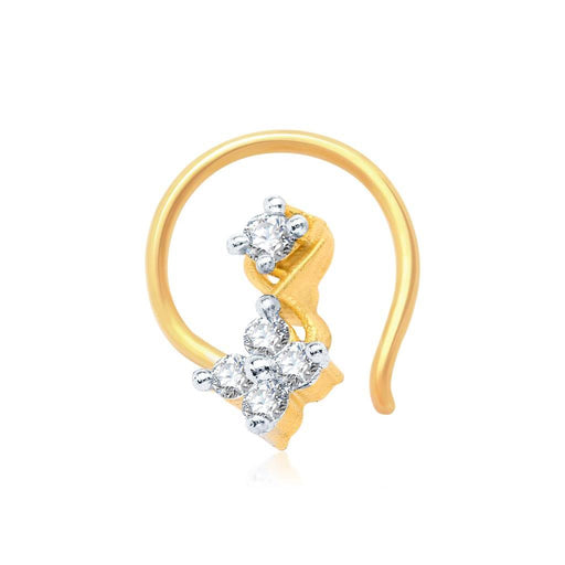 Pissara Beguilling Gold and Rhodium Plated CZ Nose Pin