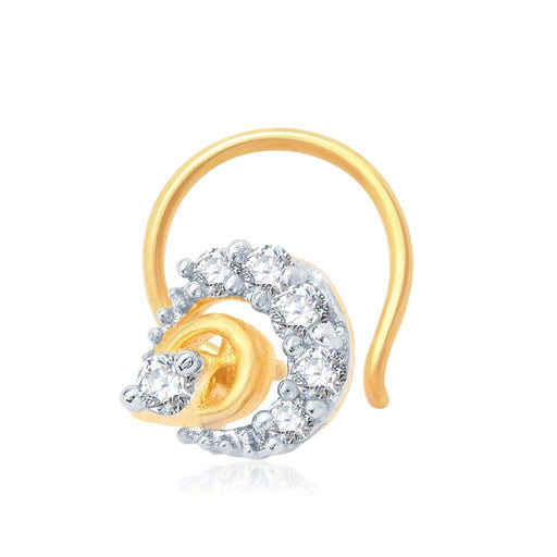 Pissara Intricately Gold and Rhodium Plated CZ Nose Pin
