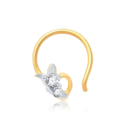 Pissara Wavy Gold and Rhodium Plated CZ Nose Pin