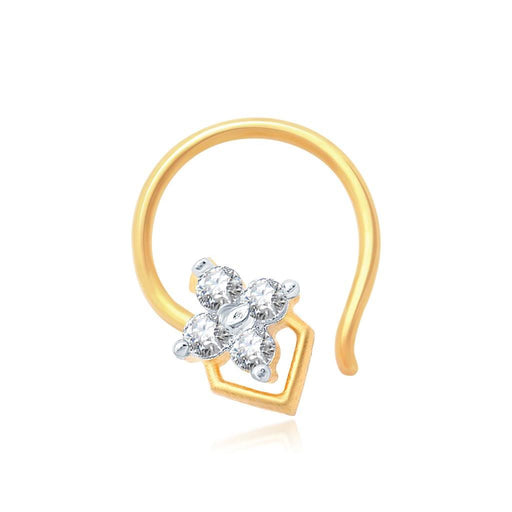 Pissara Shimmering Gold and Rhodium Plated CZ Nose Pin