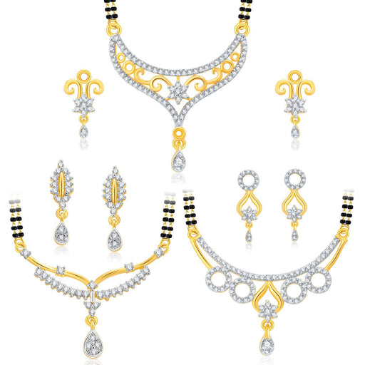 Pissara Attractive Gold Plated CZ Set of 3 Mangalsutra Set Combo For Women