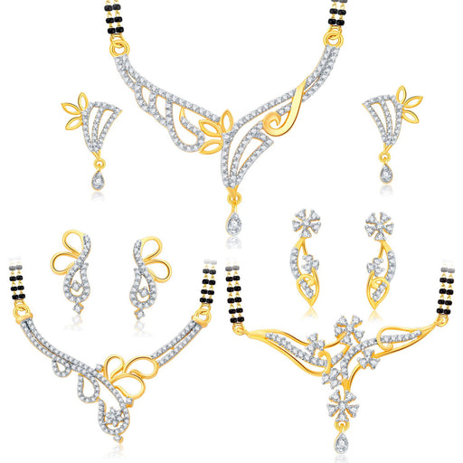 Pissara Trendy Gold Plated CZ Set of 3 Mangalsutra Set Combo For Women