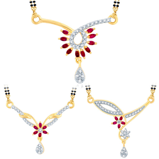 Pissara Incredible Gold Plated CZ Set of 3 Mangalsutra Combo For Women
