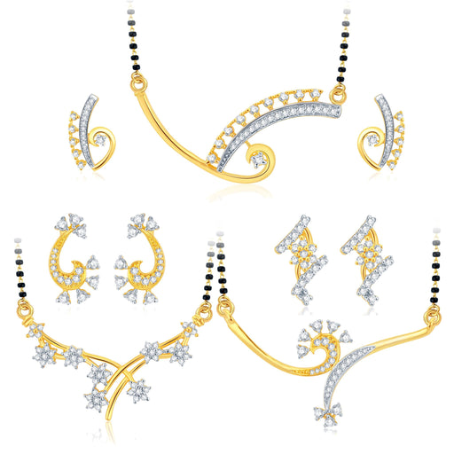 Pissara Graceful Gold Plated CZ Set of 3 Mangalsutra Set Combo For Women