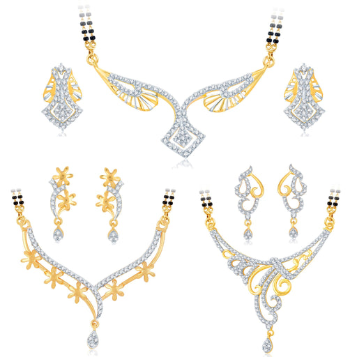 Pissara Glimmery Gold Plated CZ Set of 3 Mangalsutra Set Combo For Women