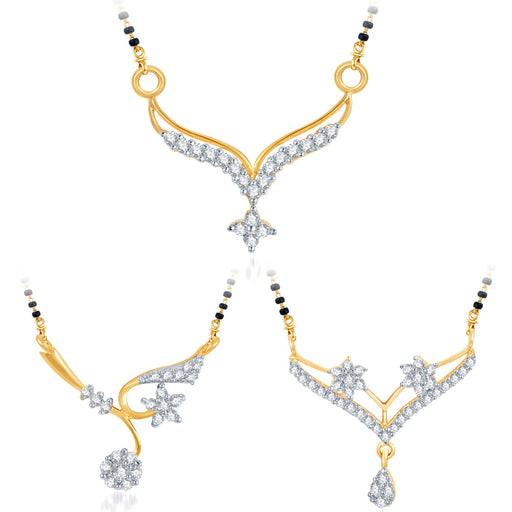 Pissara Delightful Gold Plated CZ Set of 3 Mangalsutra Combo For Women