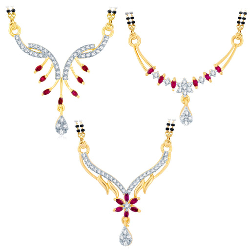 Pissara Artistically Gold Plated CZ Set of 3 Mangalsutra Combo For Women