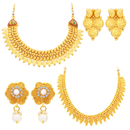 Sukkhi Fascinating Laxmi Temple Coin Gold Plated Set Of 2 Necklace Set Combo For Women