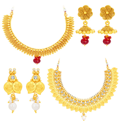 Sukkhi Modern Laxmi Temple Coin Gold Plated Set Of 2 Necklace Set Combo For Women