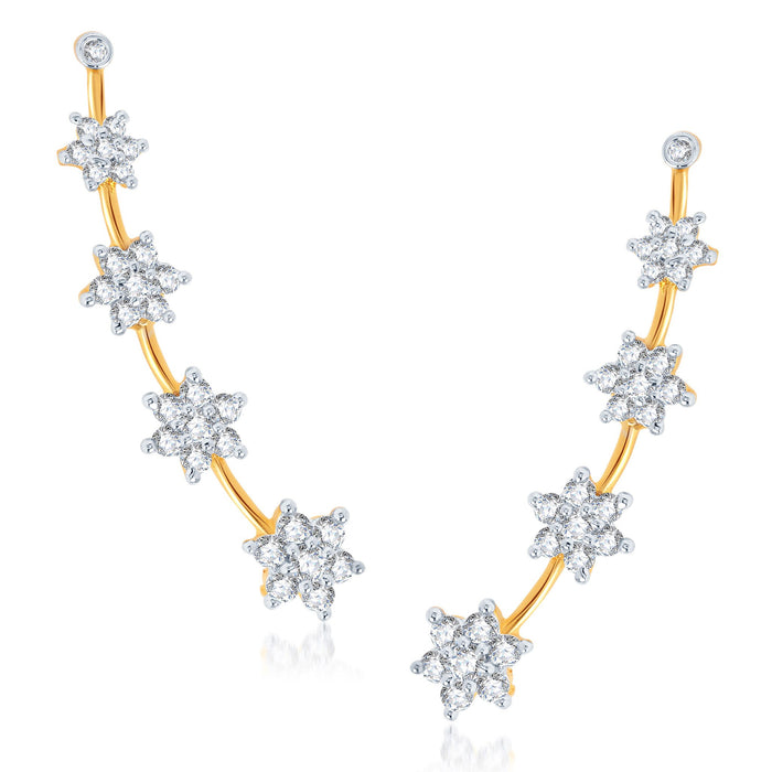 Pissara Glimmery Gold and Rhodium Plated Cubic Zirconia Stone Studded Ear cuff-1