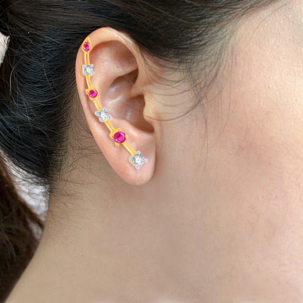 Pissara Pleasing Gold and Rhodium Plated Cubic Zirconia and Ruby Stone Studded Ear cuff